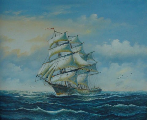 Canvas Painting, Seascape Painting, Big Ship, Canvas Art, Oil Painting, Wall Art, Large Painting, Dining Room Wall Art, Canvas Oil Painting, Canvas Art, Boat at Sea-Paintingforhome
