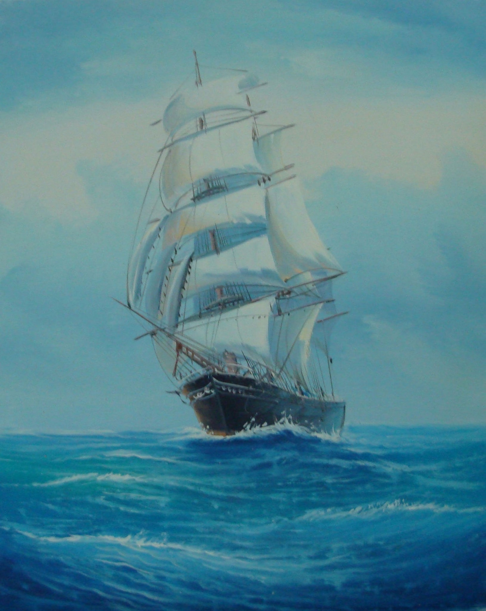 Canvas Art, Canvas Painting, Wall Art, Seascape Painting, Oil Painting, Large Painting, Dining Room Wall Art, Canvas Oil Painting, Canvas Wall Art, Sailing Boat at Sea-Paintingforhome