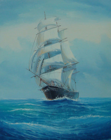 Canvas Art, Canvas Painting, Wall Art, Seascape Painting, Oil Painting, Large Painting, Dining Room Wall Art, Canvas Oil Painting, Canvas Wall Art, Sailing Boat at Sea