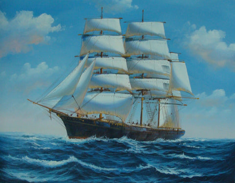 Canvas Art, Canvas Painting, Oil Painting, Living Room Wall Art, Seascape Painting, Wall Art, Large Painting, Canvas Oil Painting, Canvas Art, Sailing Boat at Sea