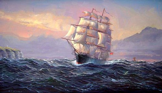 Oil Painting, Big Ship, Canvas Art, Canvas Painting, Seascape Painting, Wall Art, Large Painting, Dining Room Wall Art, Canvas Oil Painting, Canvas Art, Boat at Sea