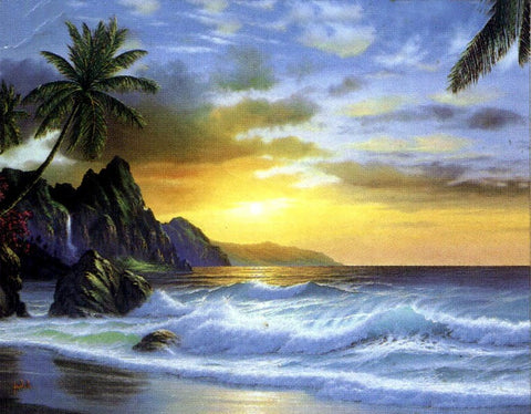 Seashore Painting, Palm Tree, Hawaii Beach, Sunrise Painting, Canvas Art, Canvas Painting, Seascape Painting, Canvas Oil Painting, Canvas Art-Paintingforhome