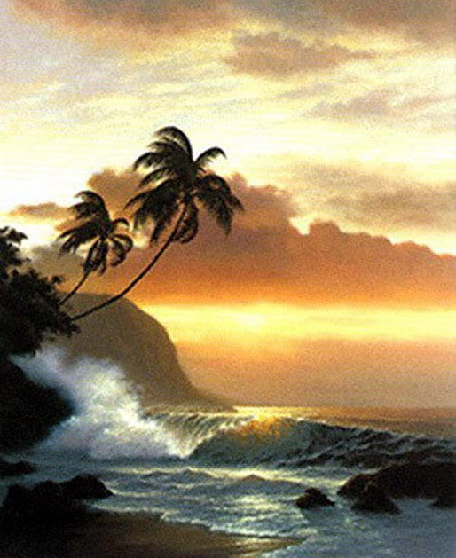 Wall Art, Large Painting, Canvas Oil Painting, Canvas Art, Hawaii Beach, Seashore Art, Sunrise Painting, Canvas Wall Art, Canvas Painting, Seascape Painting-Paintingforhome
