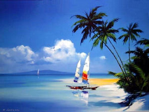 Hawaii Beach, Seashore Painting, Sail Boat Painting, Canvas Art, Canvas Painting, Oil Painting, Wall Art, Large Painting, Canvas Painting, Canvas Art-Paintingforhome