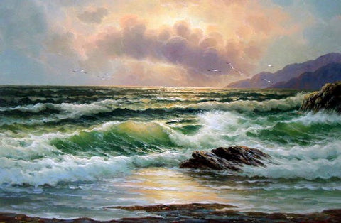 Seascape Art, Pacffic Ocean, Big Wave, Wall Painting, Canvas Art, Canvas Painting, Large Wall Art, Large Painting, Canvas Oil Painting, Canvas Art-Paintingforhome
