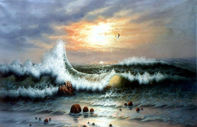 Seascape Art, Sunrise Painting, Canvas Art, Pacffic Ocean, Big Wave, Canvas Painting, Large Wall Art, Large Painting, Canvas Oil Painting, Canvas Art-Paintingforhome