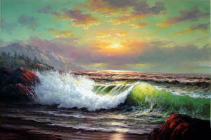 Sunrise Painting, Canvas Art, Seascape Art, Pacffic Ocean, Big Wave, Canvas Painting, Large Wall Art, Large Painting, Canvas Oil Painting, Canvas Art-Paintingforhome