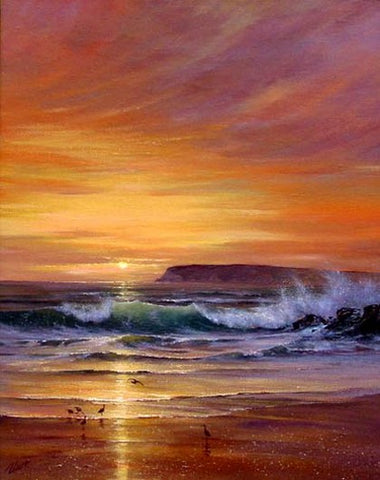 Seascape Art, Pacffic Ocean, Big Wave, Sunrise Painting, Canvas Painting, Large Wall Art, Large Painting, Canvas Oil Painting, Canvas Art-Paintingforhome