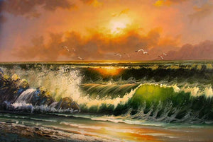 Sunrise Painting, Canvas Art, Canvas Painting, Pacffic Ocean, Seashore Painting, Seascape Art, Large Wall Art, Large Painting, Canvas Oil Painting, Canvas Art-Paintingforhome