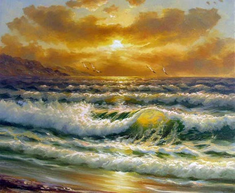 Canvas Art, Canvas Painting, Pacffic Ocean, Seashore Painting, Sunrise Painting, Seascape Art, Large Wall Art, Large Painting, Canvas Oil Painting, Canvas Art-Paintingforhome