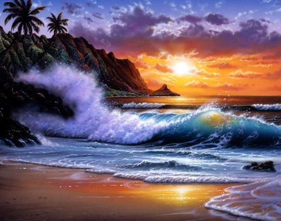 Canvas Art, Hand Painted Art, Hawaii Beach, Seashore Painting, Palm Tree, Sunrise Painting, Seascape Painting, Wall Art, Large Oil Painting, Canvas Oil Painting, Canvas Art-Paintingforhome
