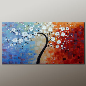 Heavy Texture Painting, Flower Painting, Acrylic Painting, Abstract Art Painting, Canvas Wall Art, Bedroom Wall Art, Canvas Art, Modern Art, Contemporary Art-Paintingforhome