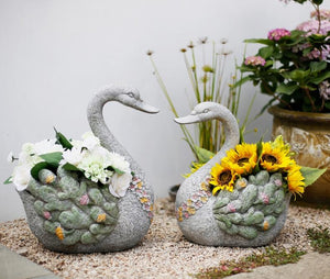 Extra Large Swan Flower Pot, Animal Statue for Garden Ornament, Swan Statues, Villa Courtyard Decor, Outdoor Decoration Ideas, Garden Ideas-Paintingforhome