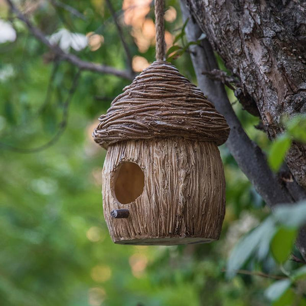 Bird House in the Garden, Resin Bird Nest for Garden Ornament, Lovely Birds House, Outdoor Decoration Ideas, Garden Ideas-Paintingforhome