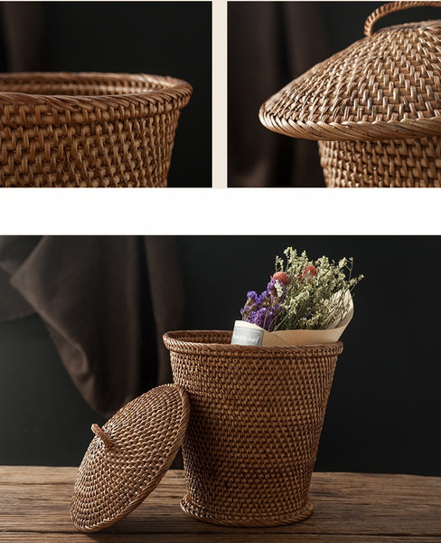 Indonesia Hand Woven Storage Basket with Cover, Natural Fiber Basket, Small Rustic Basket-Paintingforhome