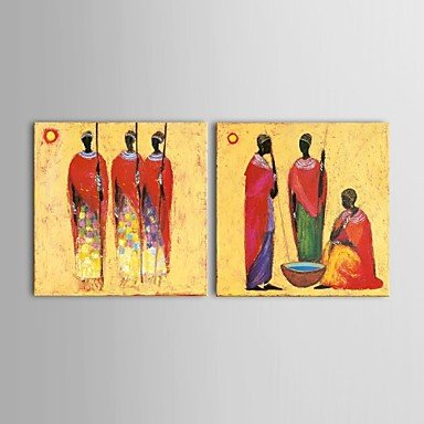 Hand Painted Art, 2 Piece Canvas Painting, African Figure Art, African Woman Painting, Wall Hanging-Paintingforhome