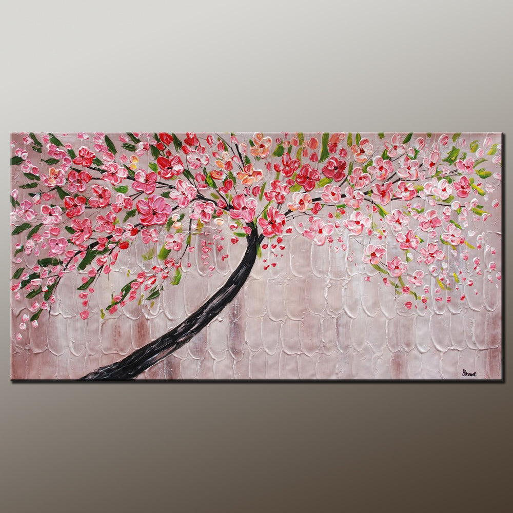 Modern Art, Contemporary Art, Tree Painting, Oil Painting, Flower Painting, Bedroom Wall Art, Heavy Texture Painting, Bedroom Wall Art, Canvas Art
