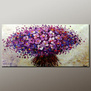 Flower Art, Acrylic Painting, Heavy Texture Painting, Canvas Art, Modern Art, Contemporary Art, Ready to Hang