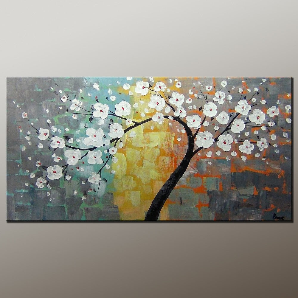 Flower Tree Art, Wall Painting, Abstract Art Painting, Canvas Wall Art, Bedroom Wall Art, Canvas Art, Modern Art, Contemporary Art-Paintingforhome