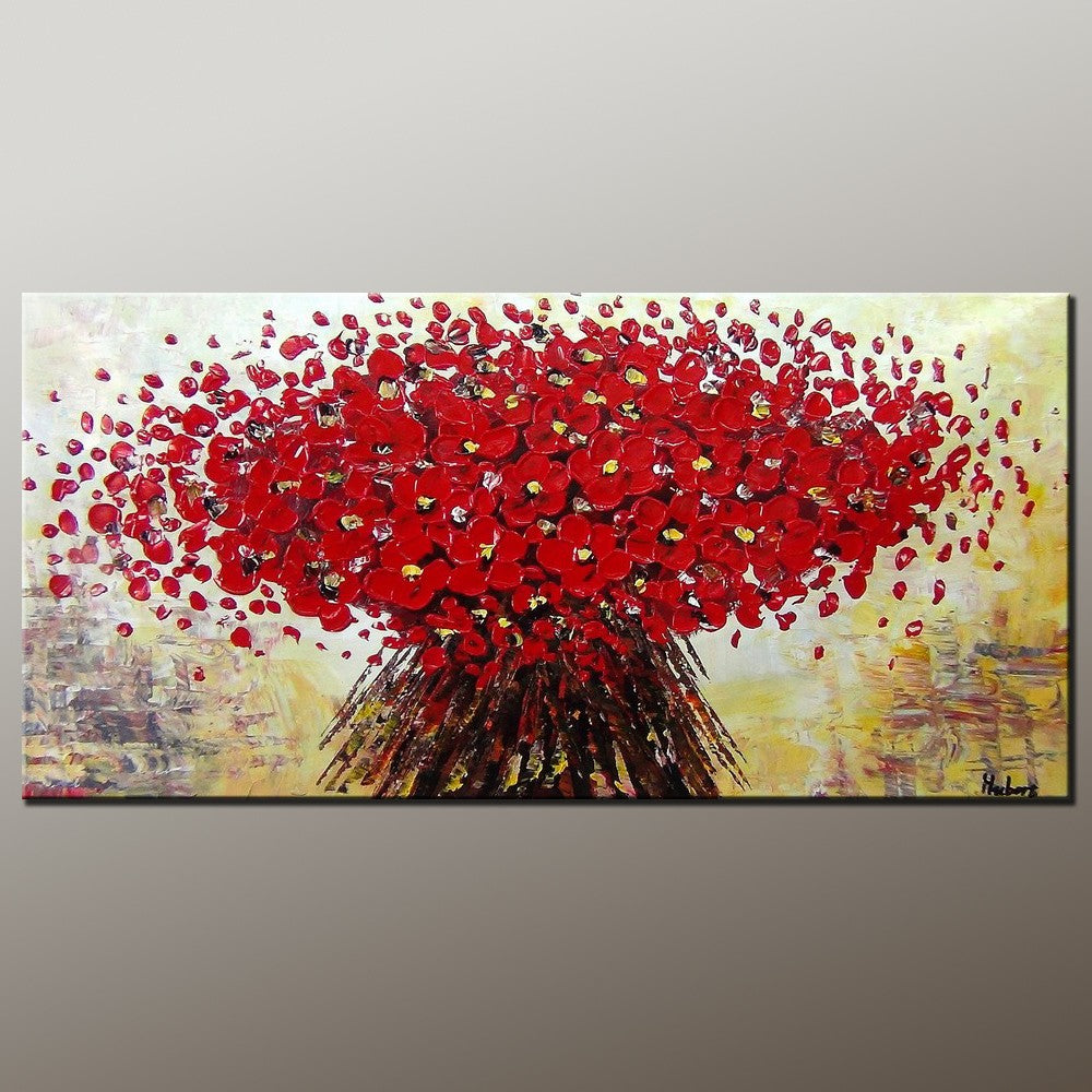 Heavy Texture Painting, Flower Painting, Canvas Wall Art, Dining Room Wall Art, Canvas Art, Contemporary Art-Paintingforhome