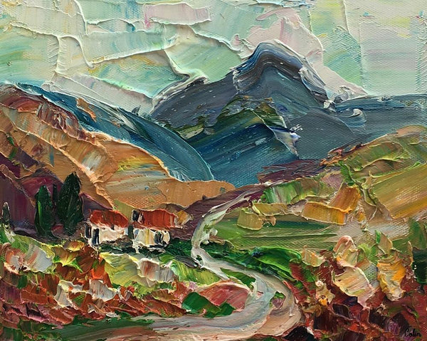 Heavy Texture Oil Painting, Mountain Village Landscape Painting, Small Oil Painting, Original Artwork, 8X10 inch-Paintingforhome