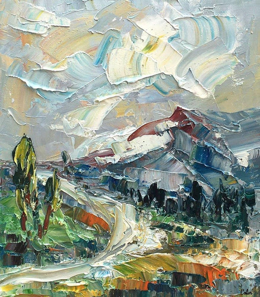 Mountain Landscape Painting, Small Oil Painting, Abstract Painting, Heavy Texture Oil Painting, 10X12 inch