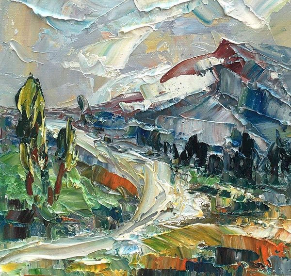 Mountain Landscape Painting, Small Oil Painting, Abstract Painting, Heavy Texture Oil Painting, 10X12 inch-Paintingforhome