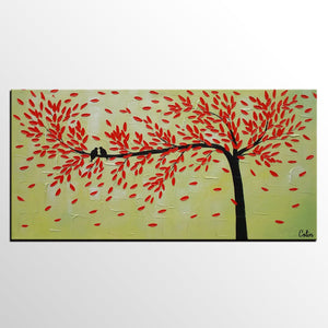 Abstract Art Painting, Love Birds Painting, Framed Artwork for Sale, Dining Room Wall Art, Canvas Art-Paintingforhome