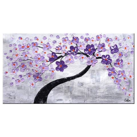 Abstract Canvas Art, Flower Tree Painting, Painting on Sale, Dining Room Wall Art, Modern Artwork, Contemporary Art-Paintingforhome