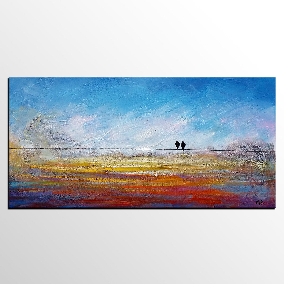 Contemporary Wall Art, Abstract Artwork, Modern Art, Love Birds Painting, Art for Sale, Abstract Art Painting, Painting for Sale-Paintingforhome