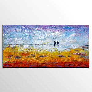 Modern Art, Contemporary Artwork, Love Birds Painting, Abstract Art Painting, Wedding Gift-Paintingforhome