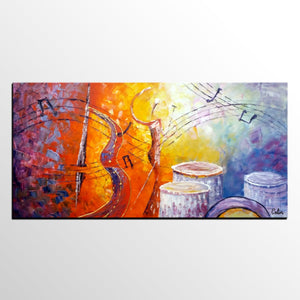 Violin Music Art, Canvas Wall Art, Abstract Art Painting, Bedroom Wall Art, Canvas Art, Modern Art, Contemporary Art
