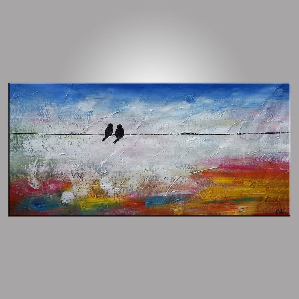 Love Birds Painting, Art for Sale, Modern Artwork, Abstract Wall Art, Contemporary Painting, Abstract Painting, Canvas Art Painting, Wedding Gift
