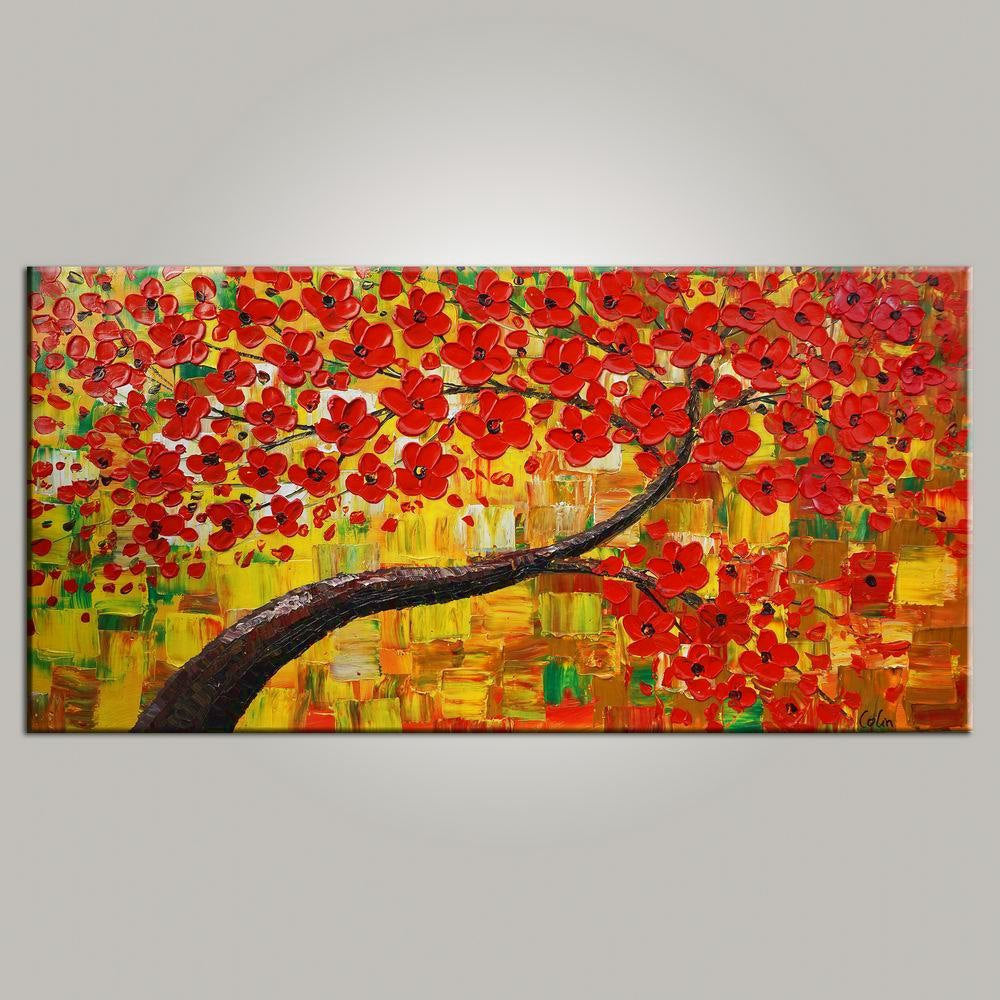 Heavy Texture Art, Flower Tree Art, Contemporary Wall Art, Modern Art, Art for Sale, Abstract Art Painting-Paintingforhome