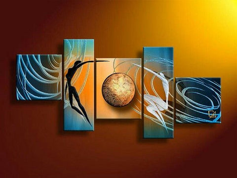 Abstract Art of Love, Love Abstract Painting, Living Room Wall Art, 5 Piece Canvas Art - Paintingforhome