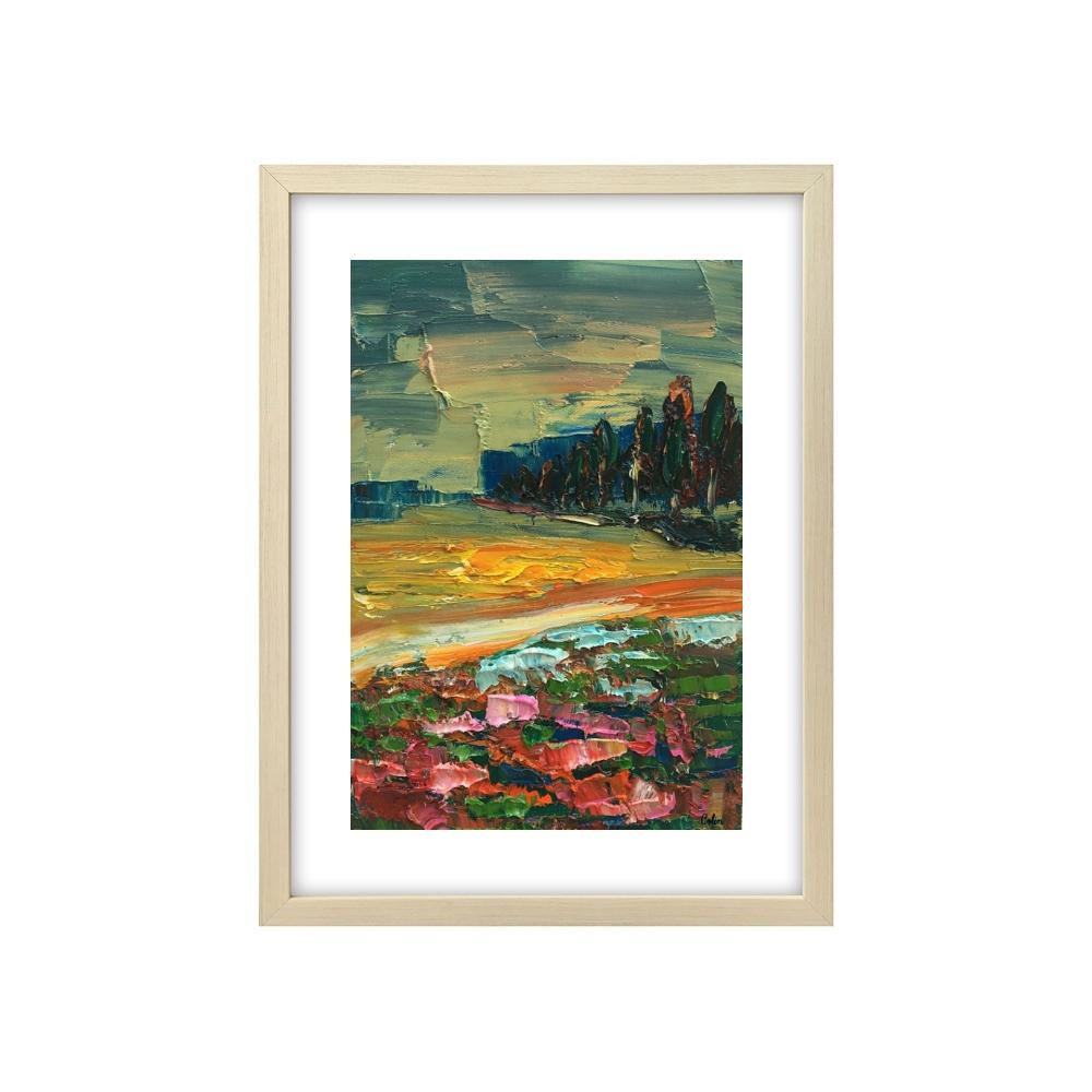 Landscape Painting, Flower and Tree Painting, Small Oil Painting, Heavy Texture Oil Painting, 8X12 inch