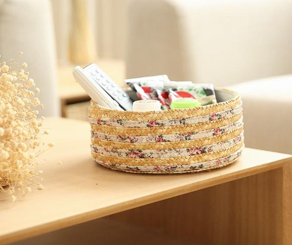 Set of 2, Round Woven Straw Basket with Lining, Storage Basket, Round Basket-Paintingforhome