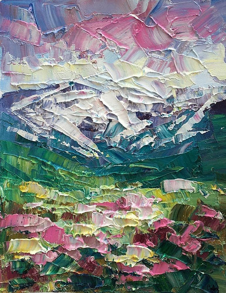 Mountain Flower Landscape Painting, Canvas Painting, Small Oil Painting, Heavy Texture Oil Painting, 8X10 inch-Paintingforhome