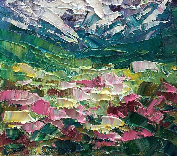 Mountain Flower Landscape Painting, Canvas Painting, Small Oil Painting, Heavy Texture Oil Painting, 8X10 inch