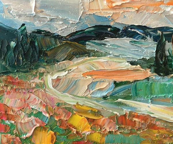 Abstract Landscape Painting, Cypress Tree Mountain Painting, Small Oil Painting, Heavy Texture Oil Painting, 8X12 inch-Paintingforhome
