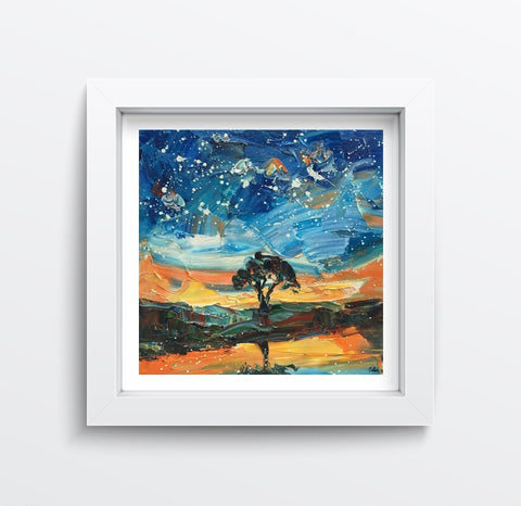 Landscape Painting, Starry Night Sky Painting, Small Oil Painting, Heavy Texture Oil Painting, 10X10 inch