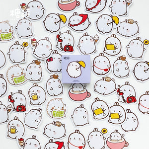 Cute Molang Rabbit Label Stickers Set