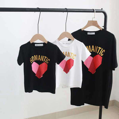 T Shirt Assorti Famille Romantic Coton