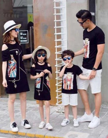 Vêtement Famille Assorti T Shirt Short Cartes Coton