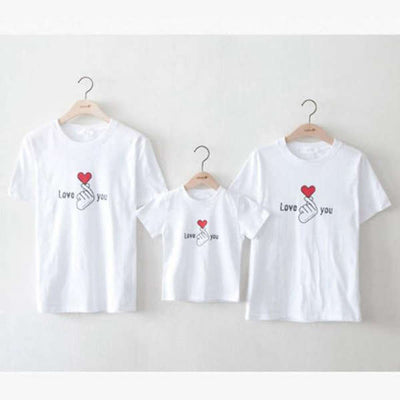 T Shirt Famille Assorti Doigts Coeur Love you | MJ FRANKO