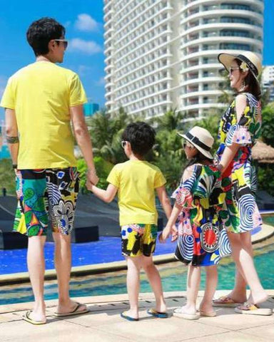 Vêtement Famille Assorti T Shirt Short Robe Multicolore Coton