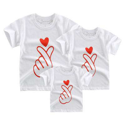 T Shirt Famille Assorti Doigts Coeur