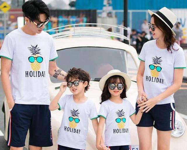 T Shirt Assorti Famille Ananas