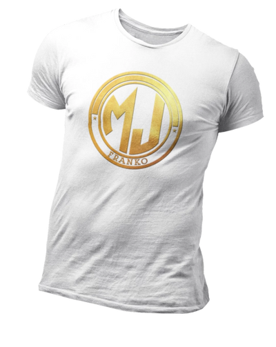 T Shirt Blanc MJ FRANKO Logo Or | MJ FRANKO