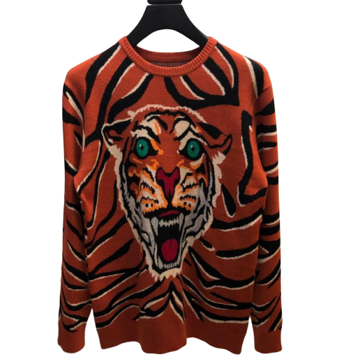Pull avec Tete de Tigre Orange | MJ FRANKO